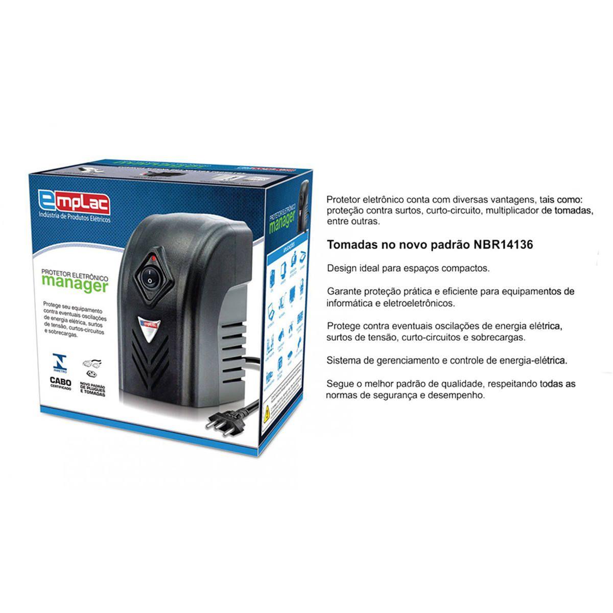 Protetor Eletrônico 500VA 300W Monovolt 127V 4 Tomadas Cabo 1 Metro Certificado Emplac F60000