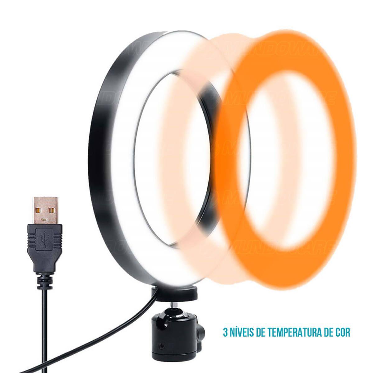 Ring Light de LED 10 Polegadas p/ Foto Vídeo 120 LEDs Dimmer 3200K à 5600K Tripé de Mesa Iluminador em 3 Cores R10W12