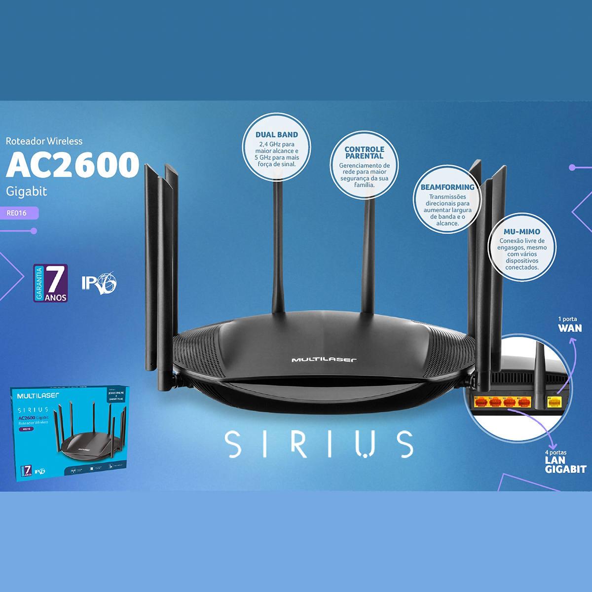 Roteador Gigabit Wireless 8 Antenas 2600Mbps Dual Band Ideal para Jogos Online e Smart TV 4K Sirius AC2600 RE016
