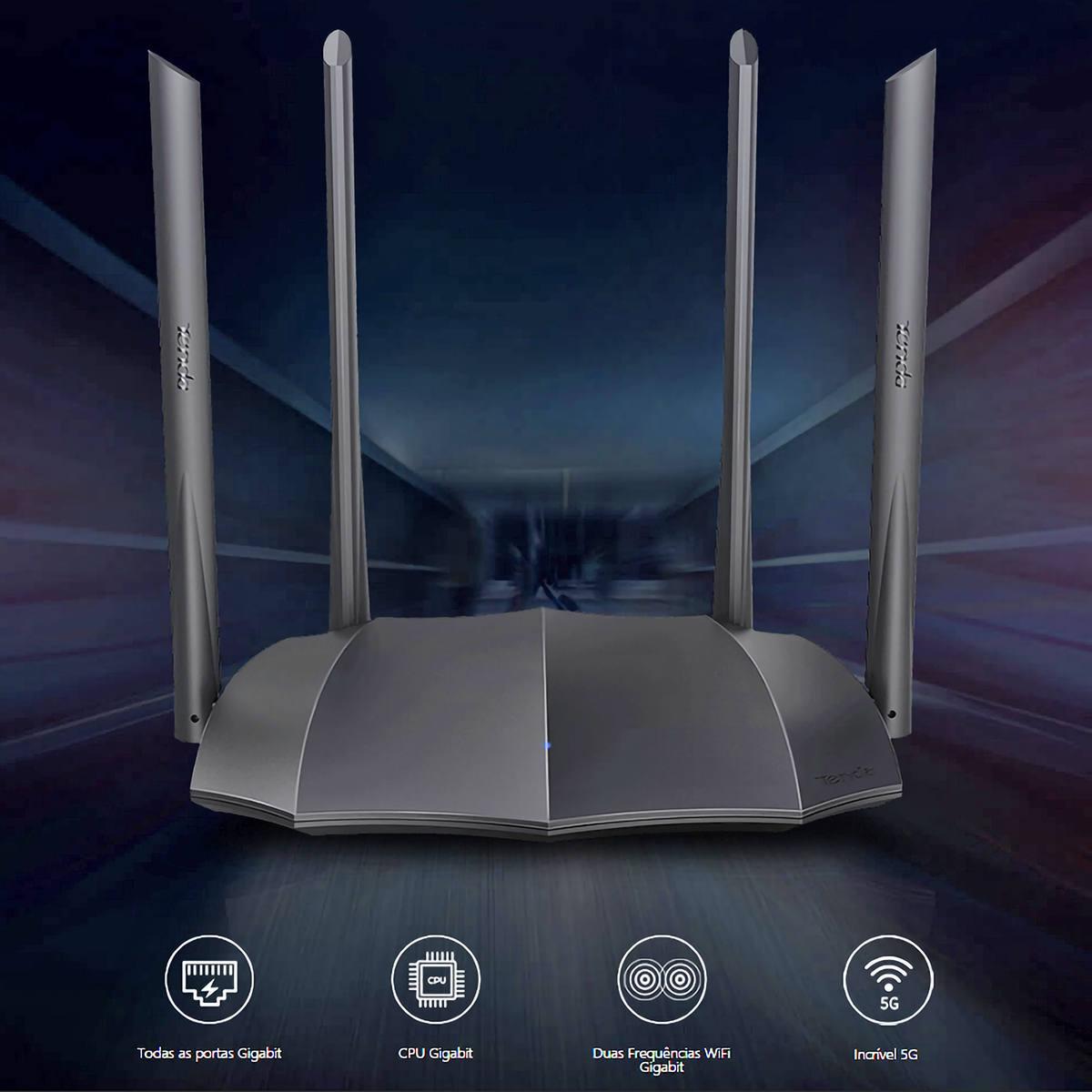 Roteador Sem Fio 1200Mbps Gigabit Wireless Dual-band AC1200 802.11AC 4 Portas Gigabit Tenda WiFI AC8