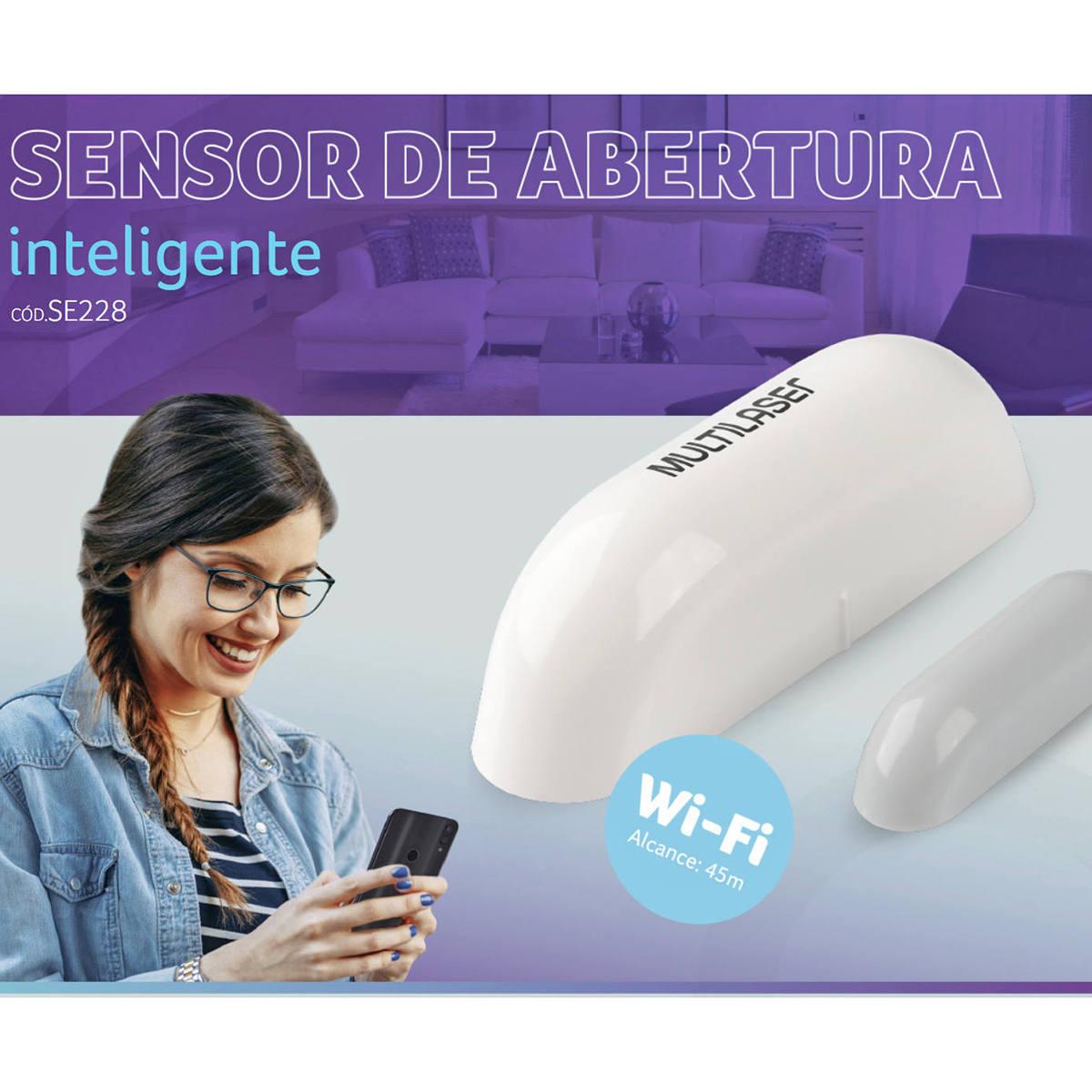 Sensor de Abertura de Porta e Janela Inteligente Wi-Fi Magnético Livre de Fios com Notificação via Celular Liv SE228