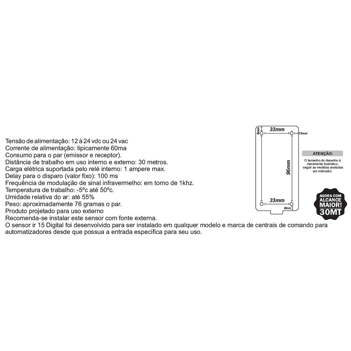 Sensor de Barreira Ativo Feixe Simples Alcance de 30 metros IPEC Sensor IR15 Digital A3099