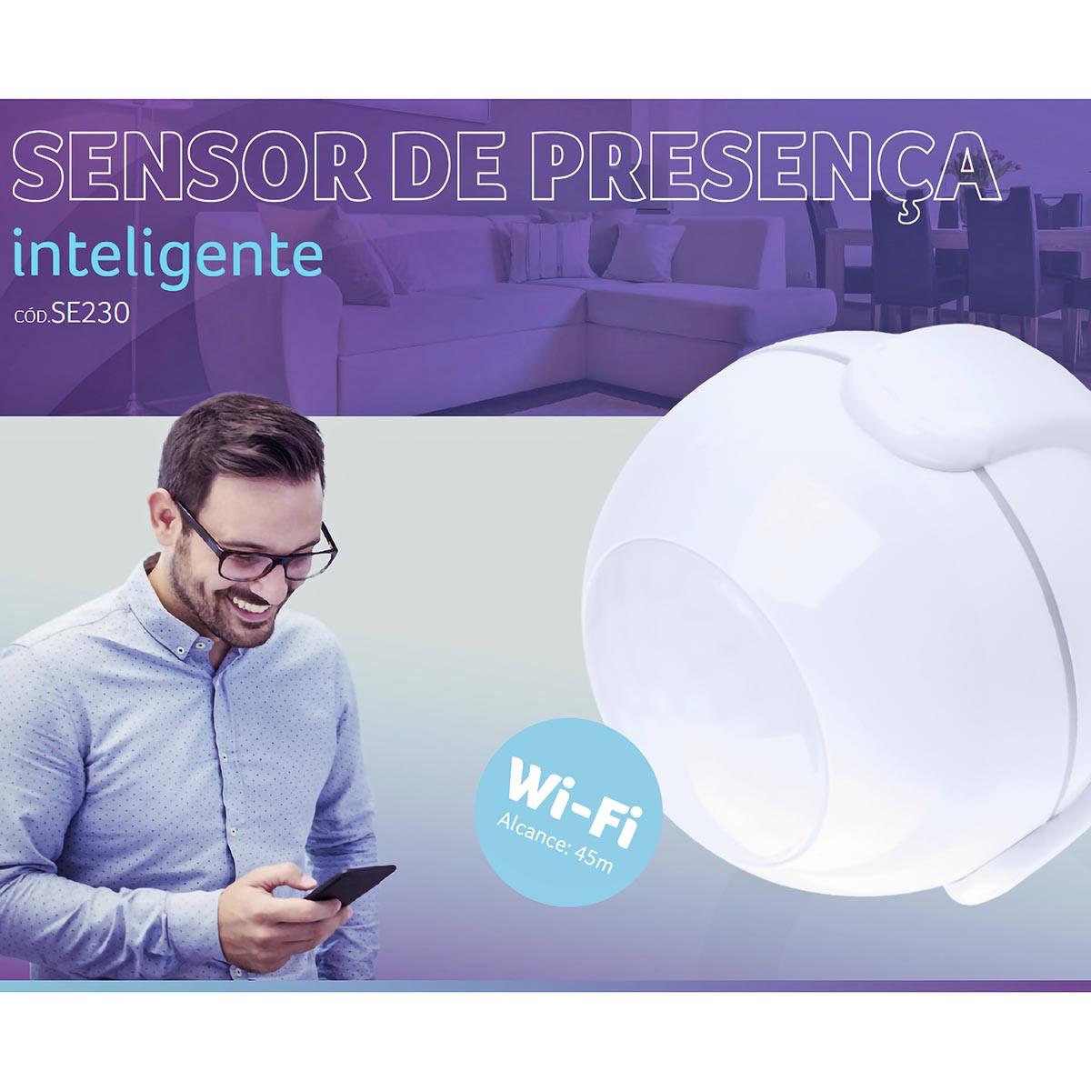 Sensor de Presença Inteligente Wi-Fi Livre de Fios de Fácil Instalação e Notificações Push via Celular Liv SE230