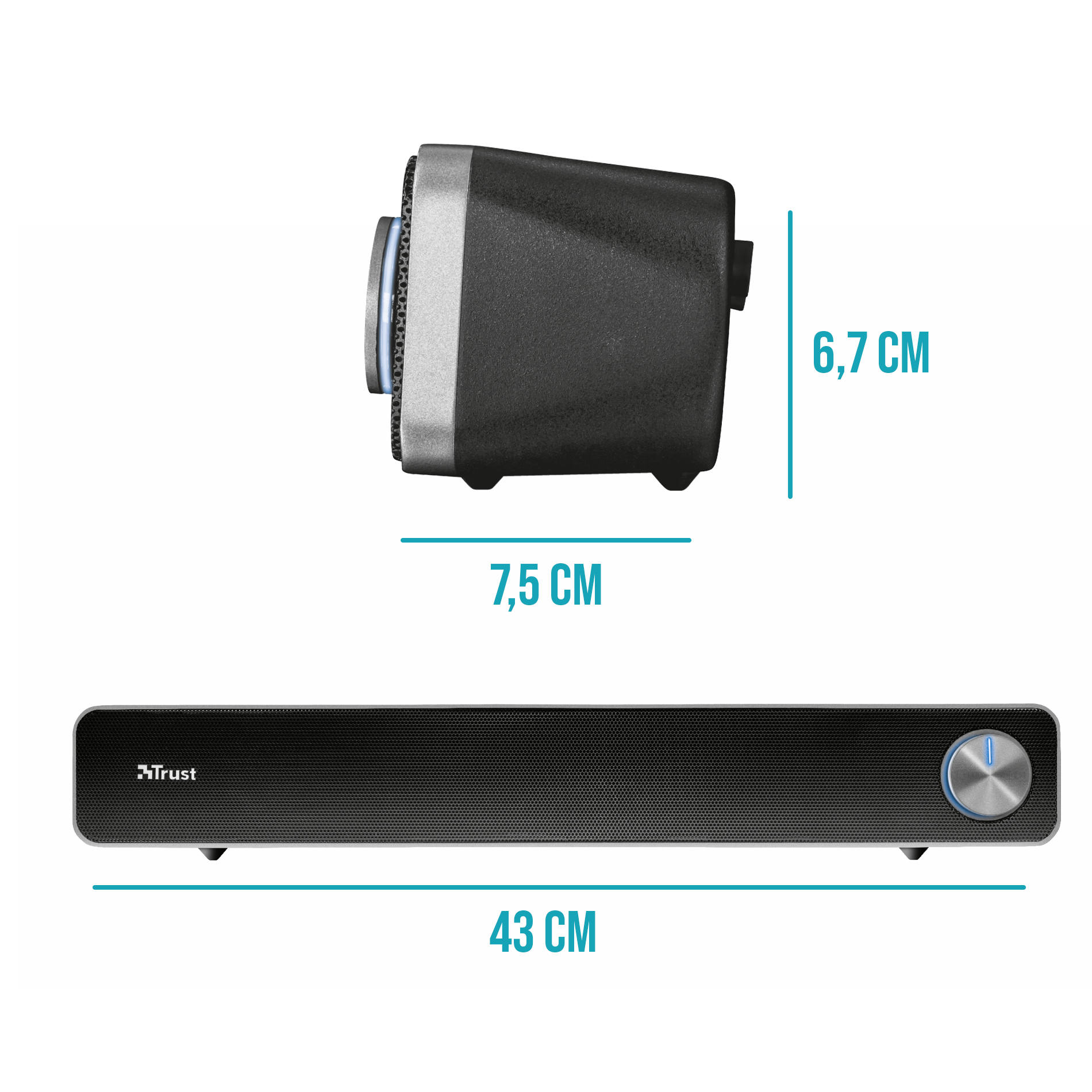 SoundBar para PC 6W RMS 2 Drivers Conexão 3.5mm USB Power Cabe sob qualquer Monitor Trust Arys