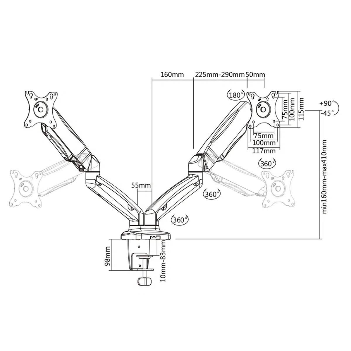 """Suporte Articulado de Mesa com Pistão a Gás e Ajuste de Altura para 2 Monitores de 17"""" a 27"""" ELG F160N"""