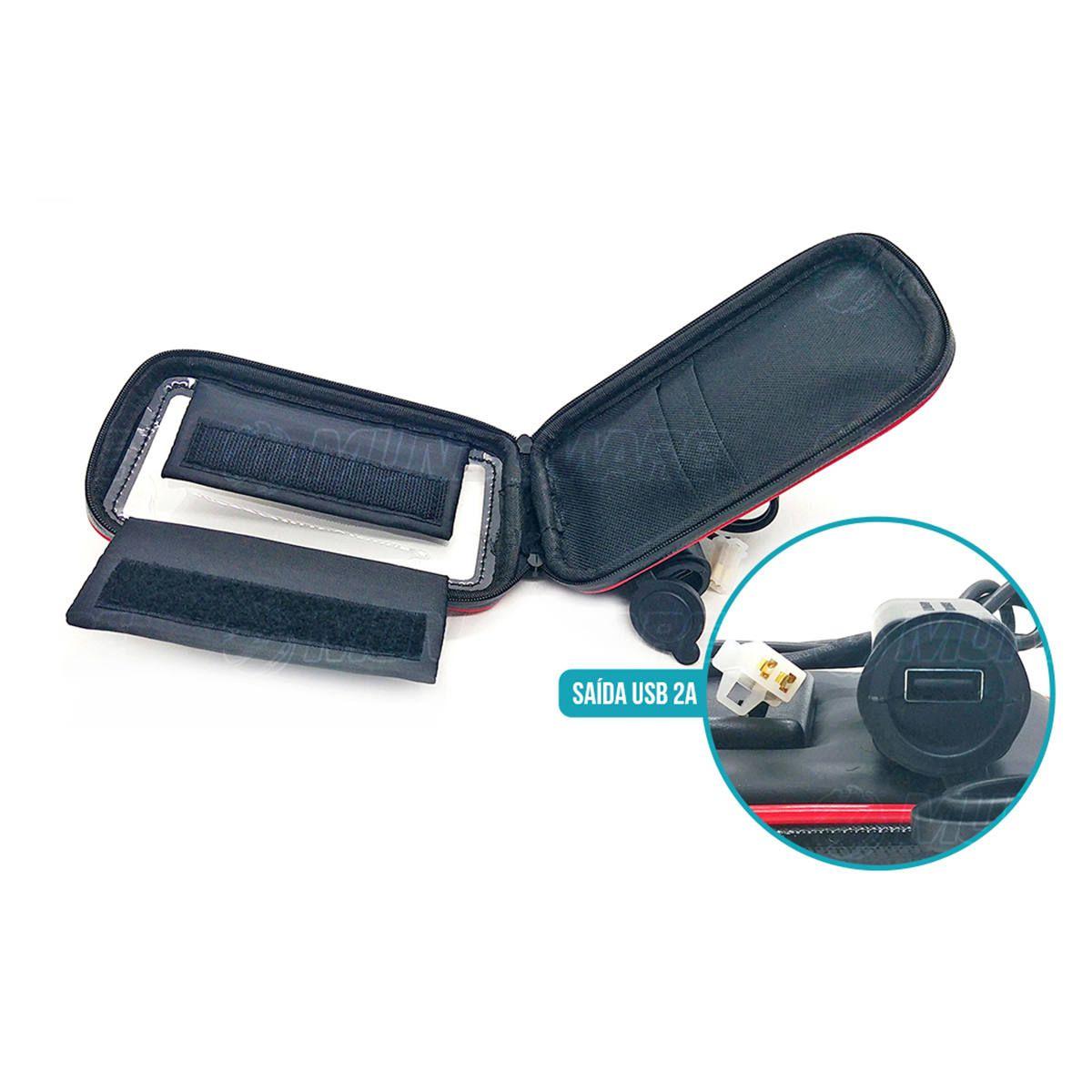 """Suporte de Celular até 6.3"""" Case Impermeável para Guidão de Moto com Carregador USB 2A Rotação 360º Exbom SP-CA34L"""