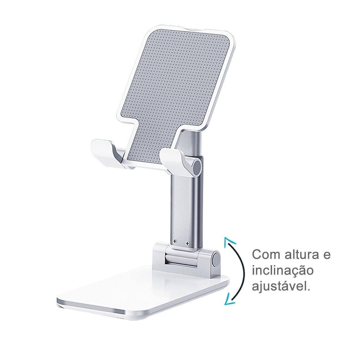 Suporte de Mesa para Celular Altura e Inclinação Ajustável Antideslizante Kimaster SU125 Branco