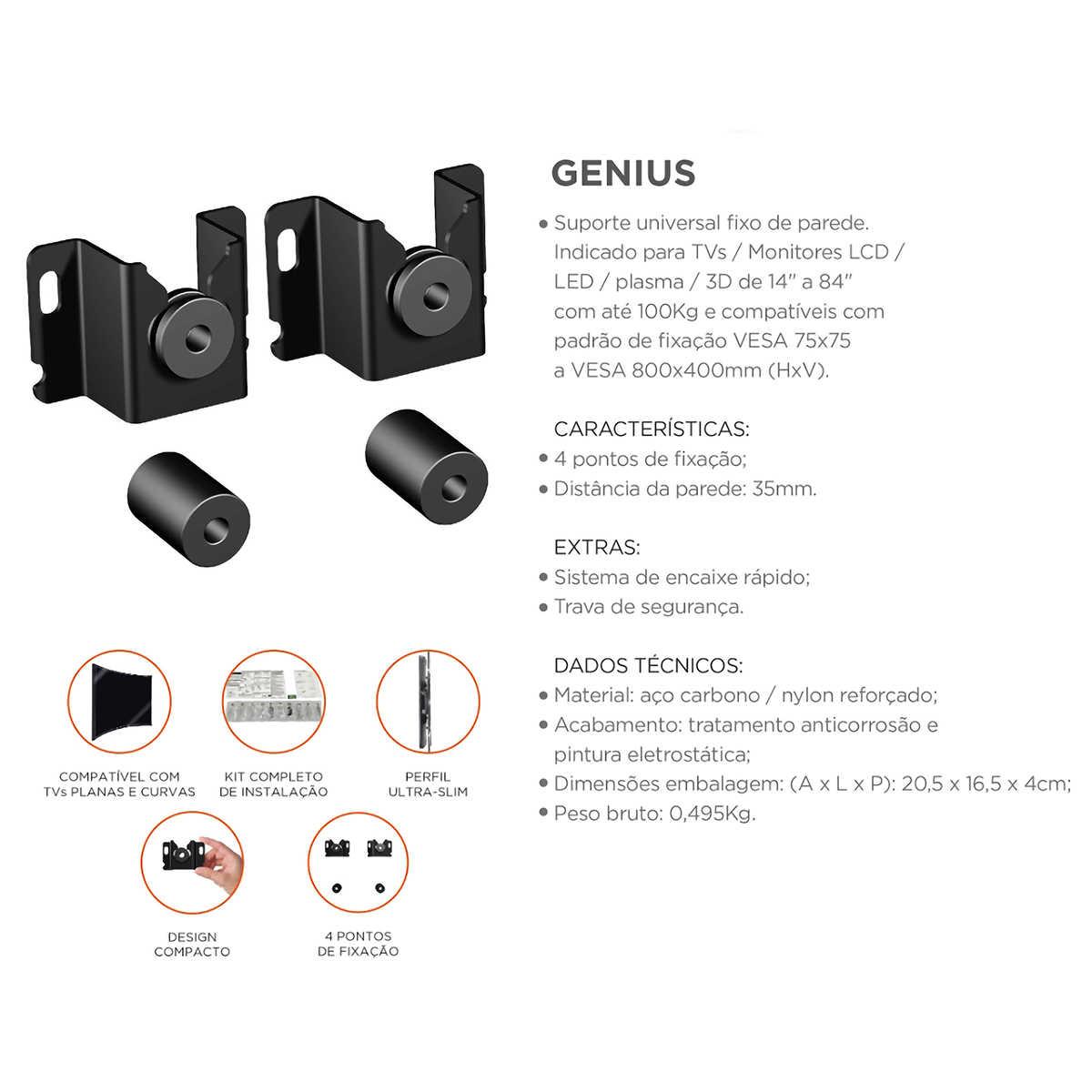 """Suporte Fixo de Parede para TV LCD LED Plasma 3D VESA Universal de 14"""" a 84"""" até 100kg Aço Preto Universal ELG Genius"""