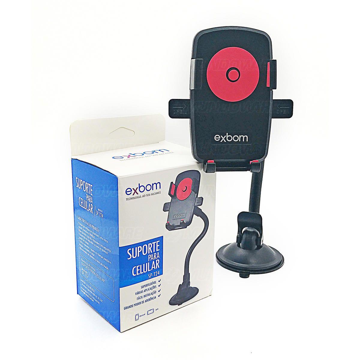 Suporte Veicular Universal para Celular com Trava Automática e Haste Flexível de Metal Exbom SP-T24