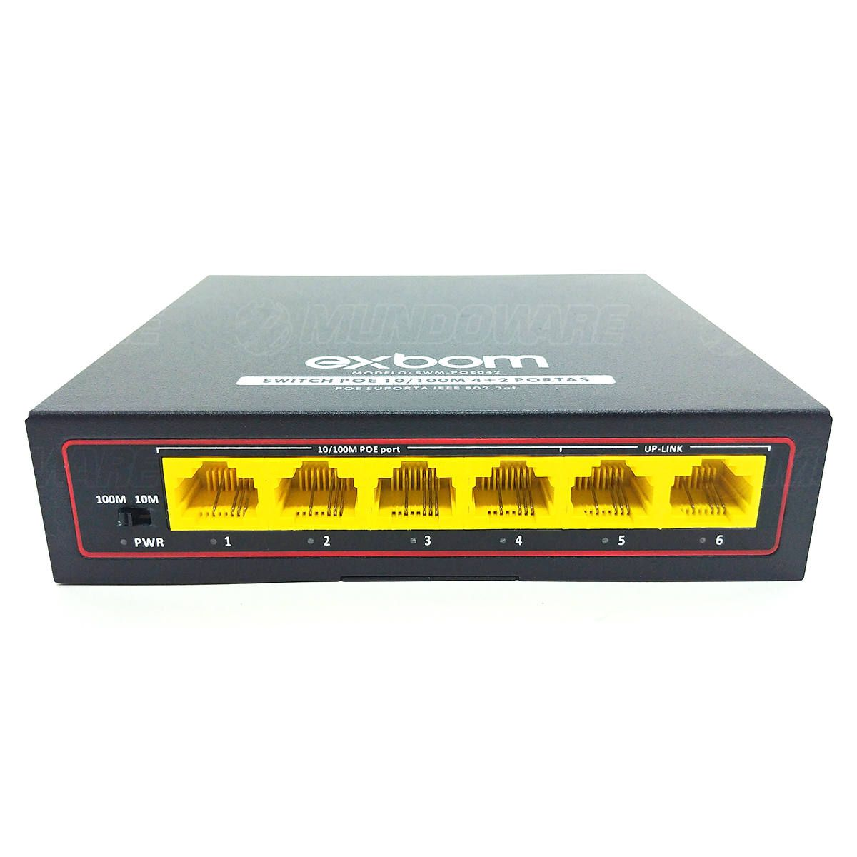 Switch POE 100Mbps 4 Portas + 2 Portas Uplink Dual Speed Exbom SWM-POE042M