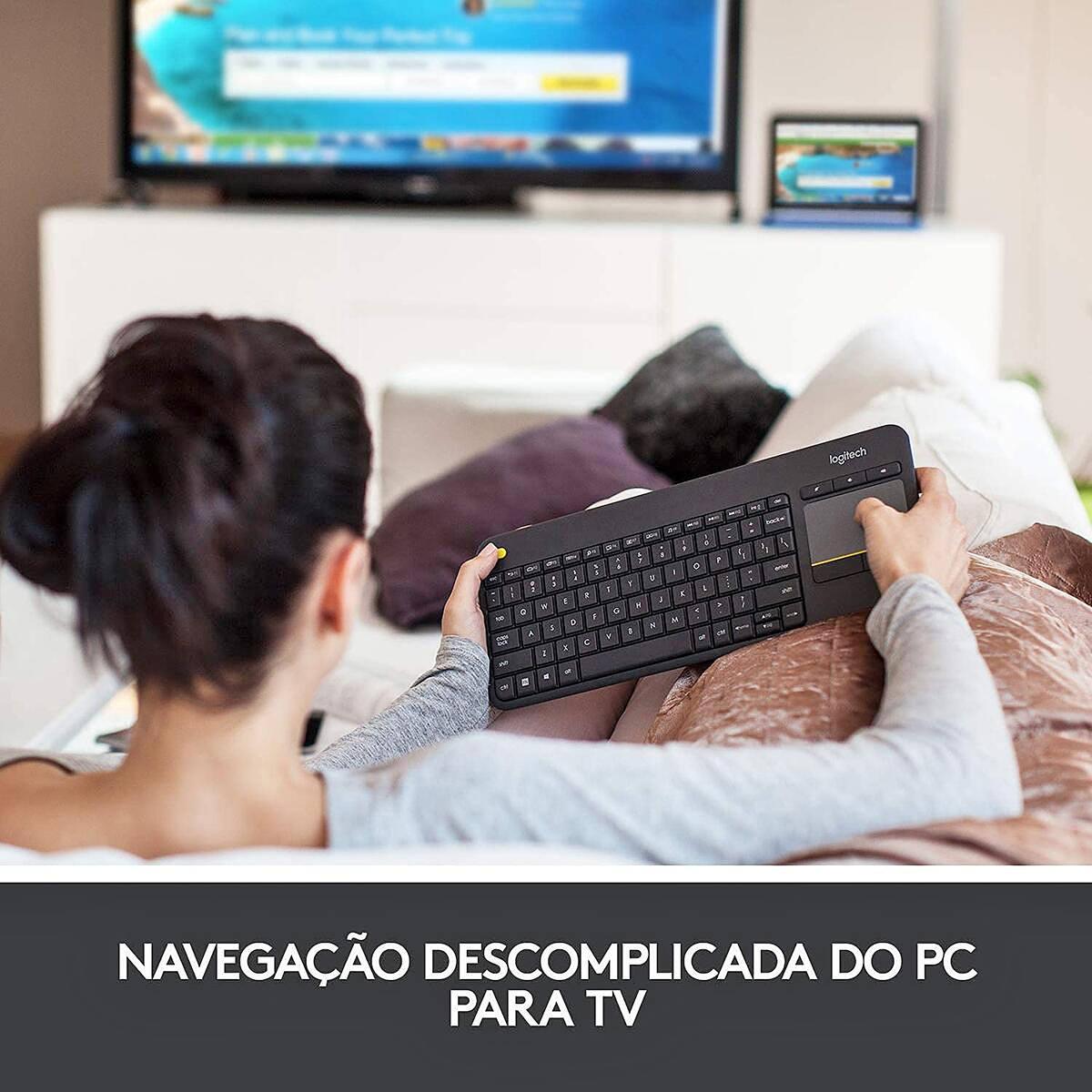 Teclado com Touchpad Integrado para TV Logitech K400 Plus Wireless Unifying Layout ABNT2 920-007125