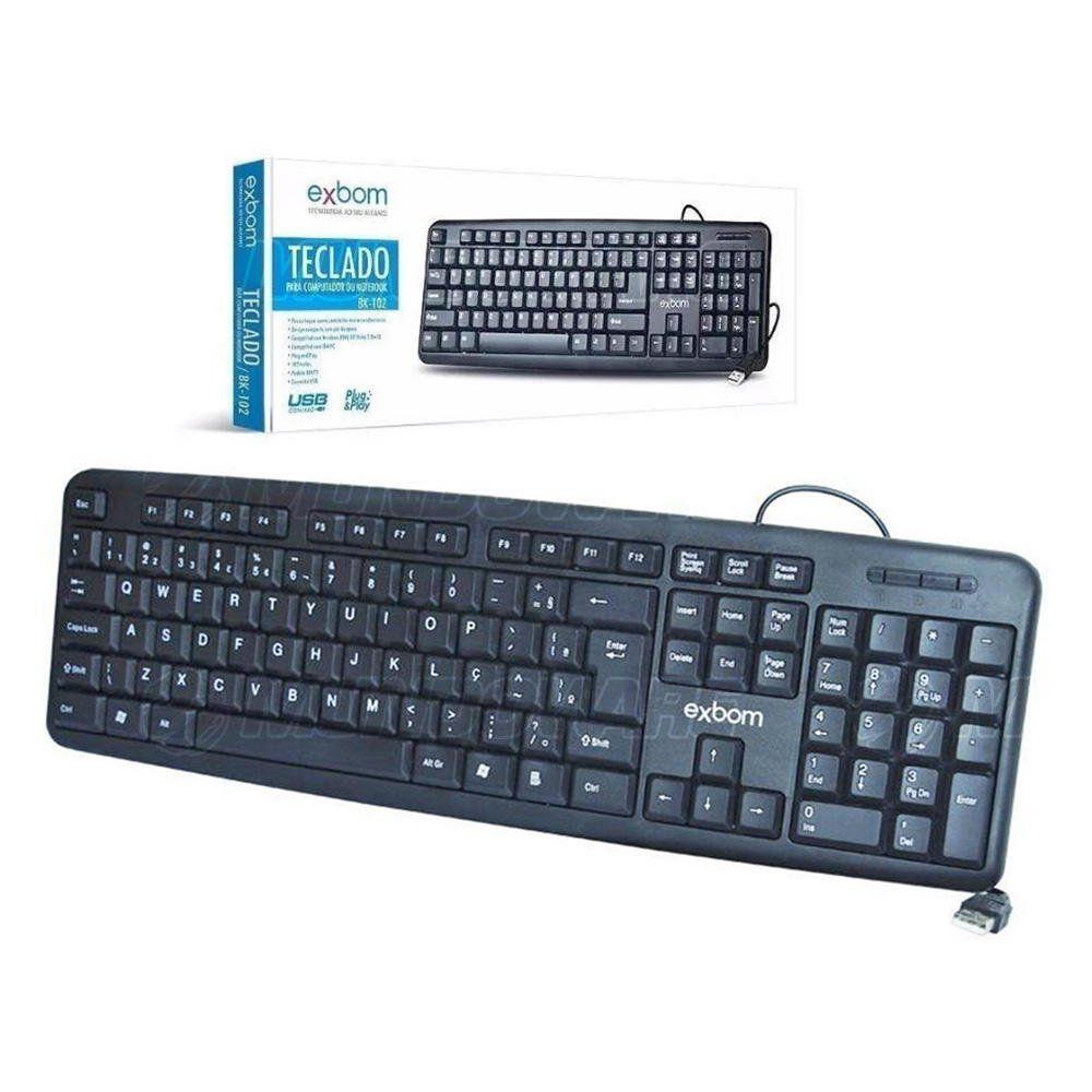 Teclado USB Básico Preto Padrão ABNT2 para Computador Exbom BK-102