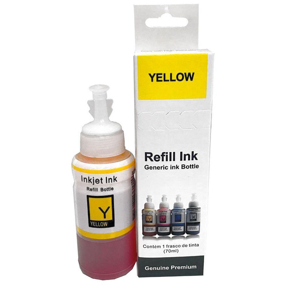 Compatível: Tinta Corante Laserteck para Epson L365 L495 L555 L565 L575 L664 L805 L810 L1800 / Amarelo / Refil 70ml