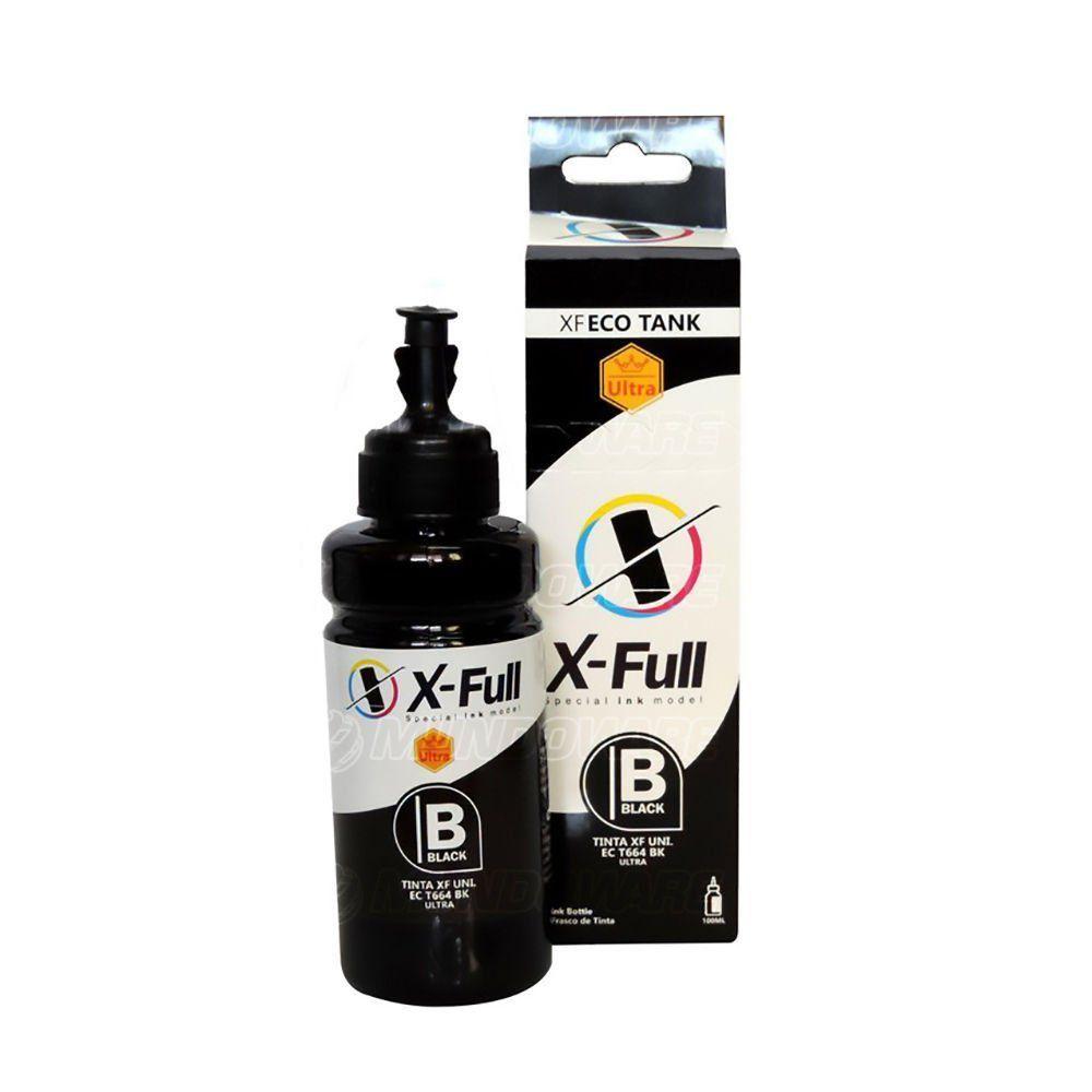 Compatível: Tinta Corante X-Full Ultra para Epson Ecotank L365 L375 L395 L475 L575 L800 L1300 L3110 / Preto / 100ml