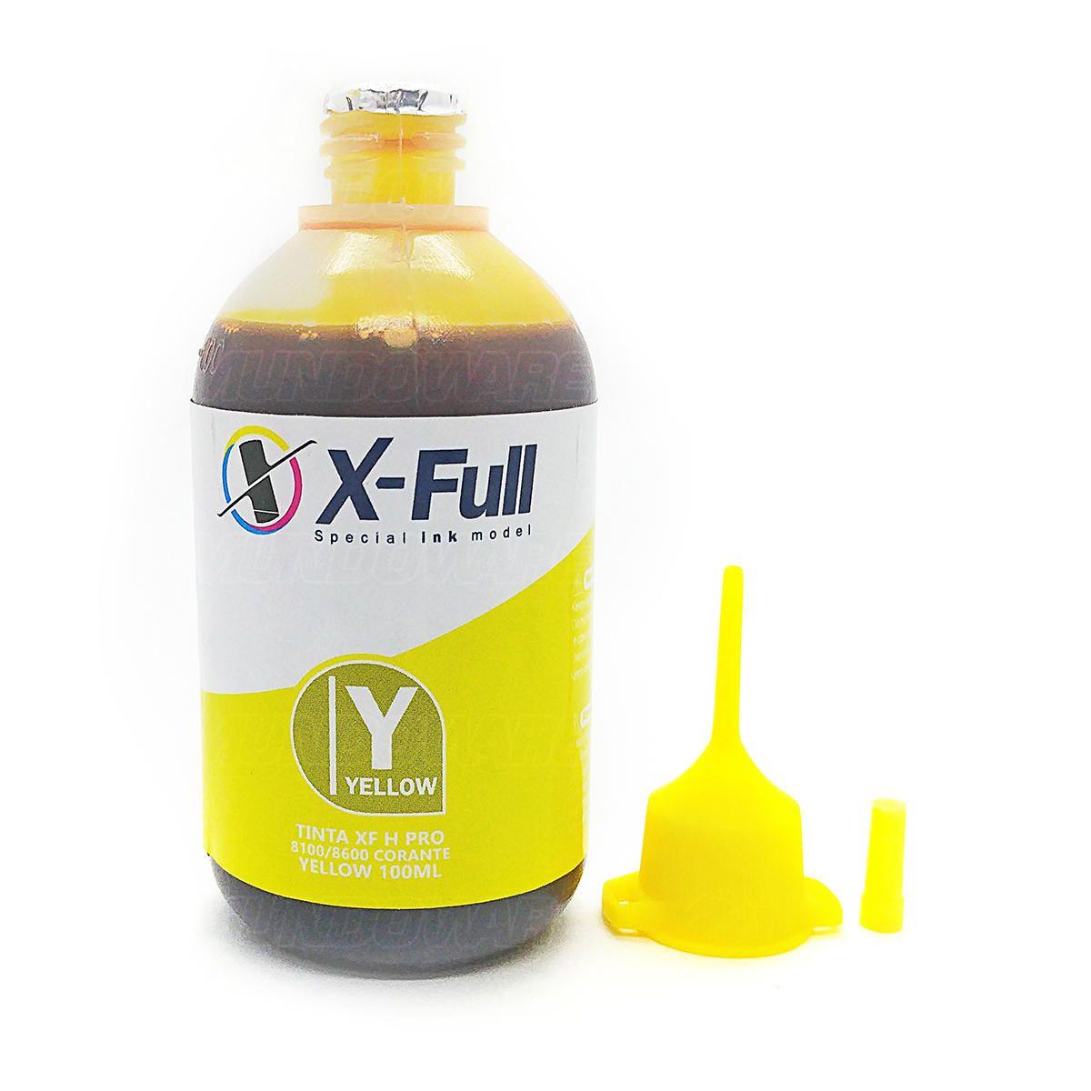 Compatível: Tinta Corante X-Full para HP 8600 8500 8100 8000 8600w X576dw X551dw X476dw X451dw / Amarelo / 100ml