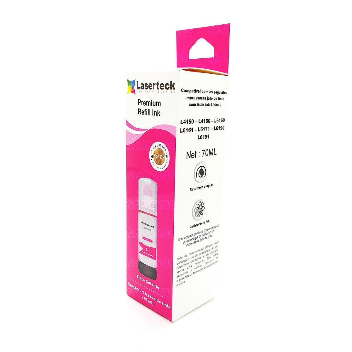 Compatível: Tinta Corante Laserteck para Epson L4150 L4160 L6160 L6161 L6171 L6190 L6191 4160 6160 / Magenta / 70ml