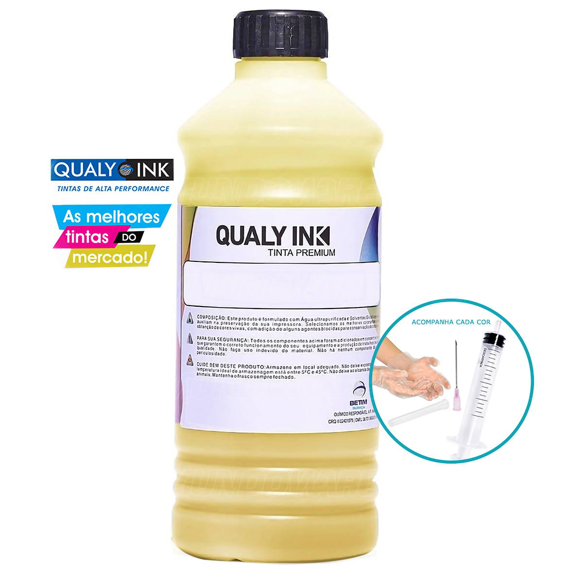 Tinta Corante Qualy-Ink para Impressora Brother MFC-J430w J6710dw J6510dw DCP-165c 385c 585cw Amarelo Refil 1L