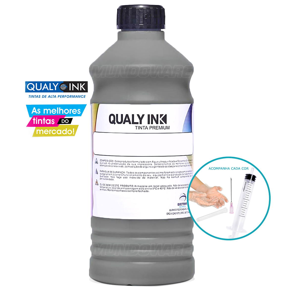 Tinta Corante Qualy-Ink Universal para Cartucho Bulk Ink e Tanque de Tinta Preto Refil 1L