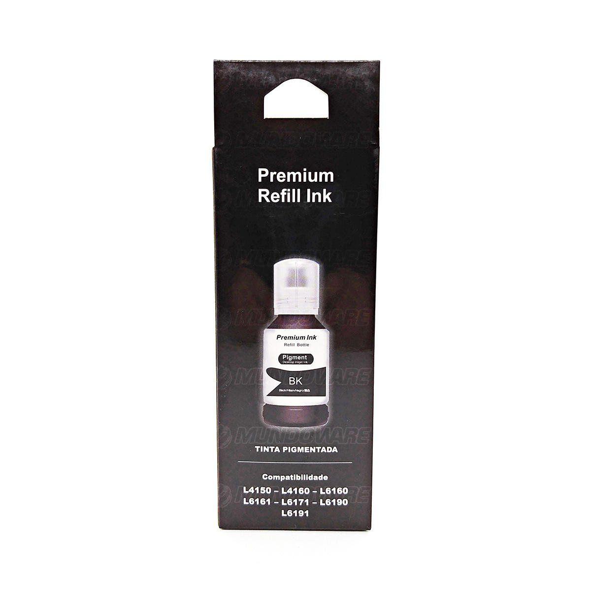 Compatível: Tinta Pigmentada Laserteck para Epson L4150 L4160 L6160 L6161 L6171 L6190 L6191 4150 6160 / Preto / 127ml