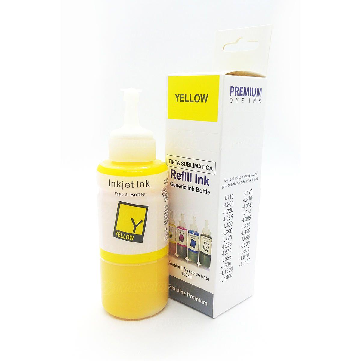 Compatível: Tinta Sublimática Laserteck para Sublimação para Epson L210 L380 L475 L565 L656 L800 / Amarelo / Refil 100ml