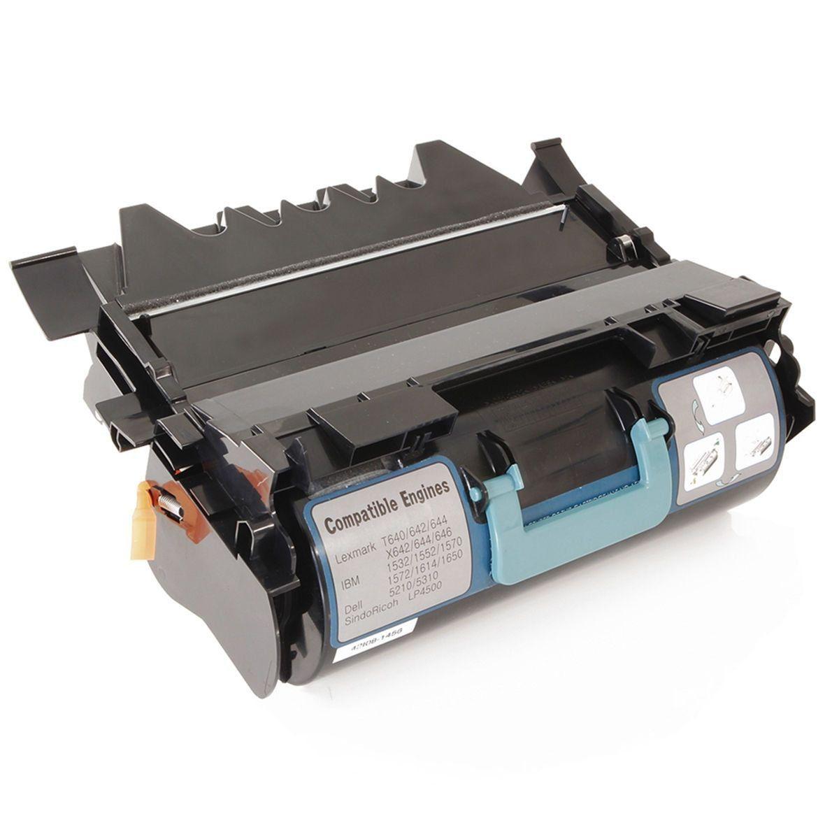 Compatível: Toner T640 para Lexmark T640n T642 T644 T646 T640dtn T642dtn T644dtn X640 X642 X644 X646 / Preto / 21.000