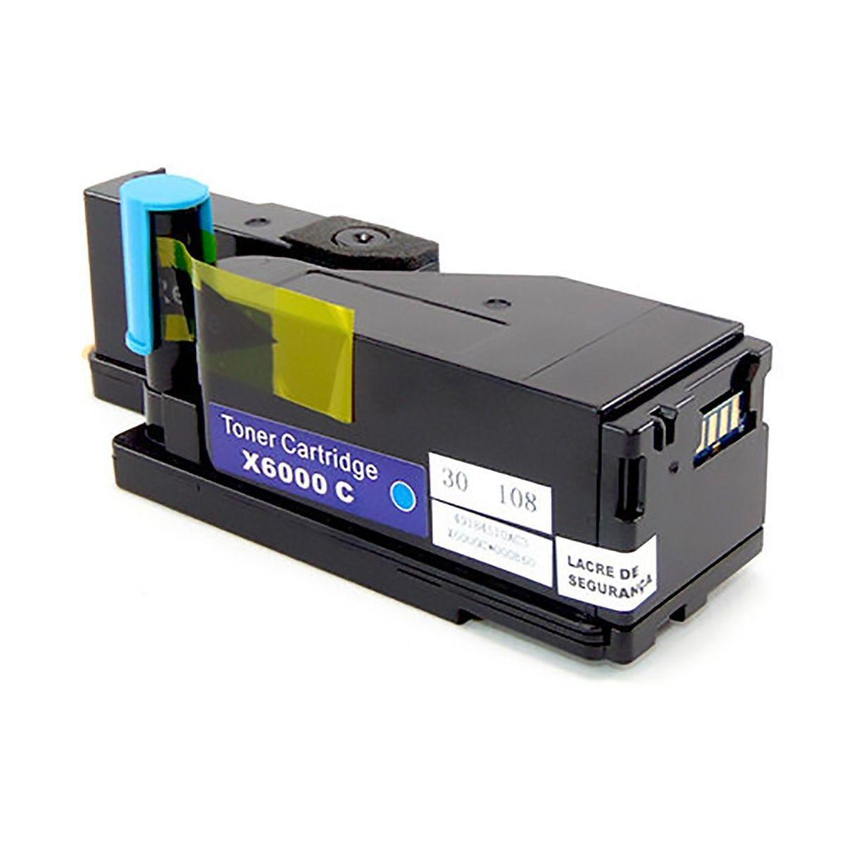 Compatível: Toner 106R01631 para Impressora Xerox WorkCentre 6015 6015b 6015ni Phaser 6000 6010 / Ciano / 1.000