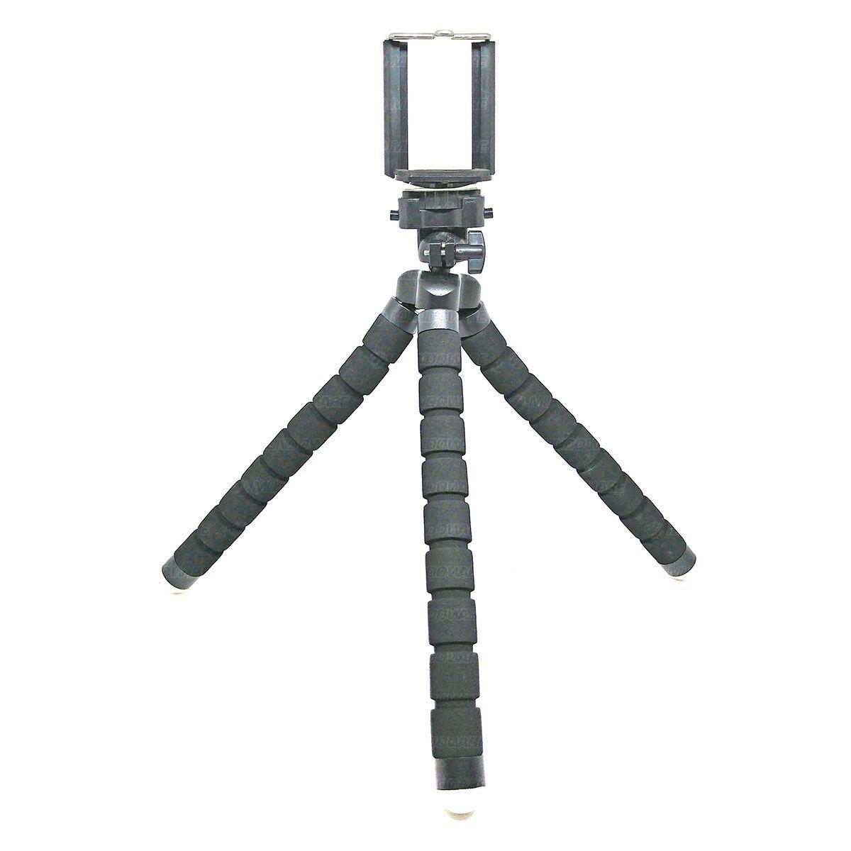 Tripé Flexível Almofadado para Fotografia com Clipe Ajustável para Smartphone / Preto