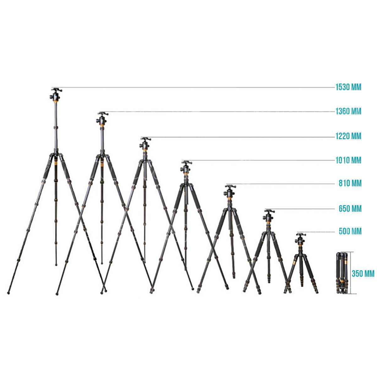 Tripé Profissional em Alumínio até 160cm de Altura 5 Posições de Regulagem Suporta até 10kg com Bolsa Exbom X600