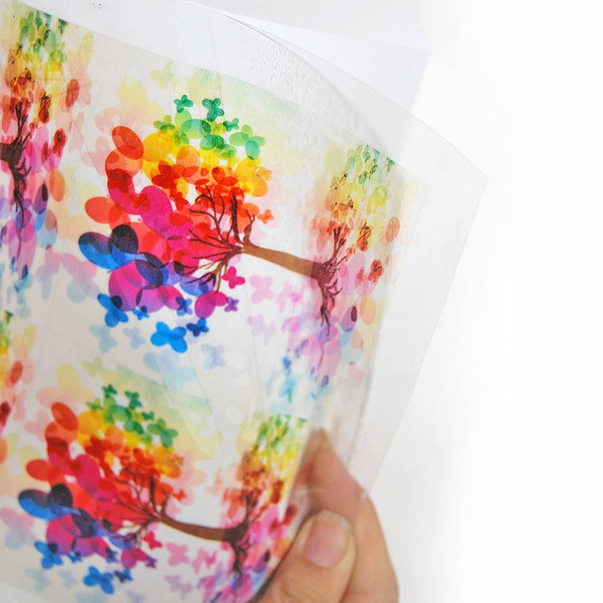 Vinil Adesivo Transparente 150g A4 210mmx297mm PVC Autoadesivo com Brilho / 10 folhas