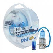 Kit Lampada Philips Crystal Vision H3 55w 12v + Par de Pingos - Efeito Xenon