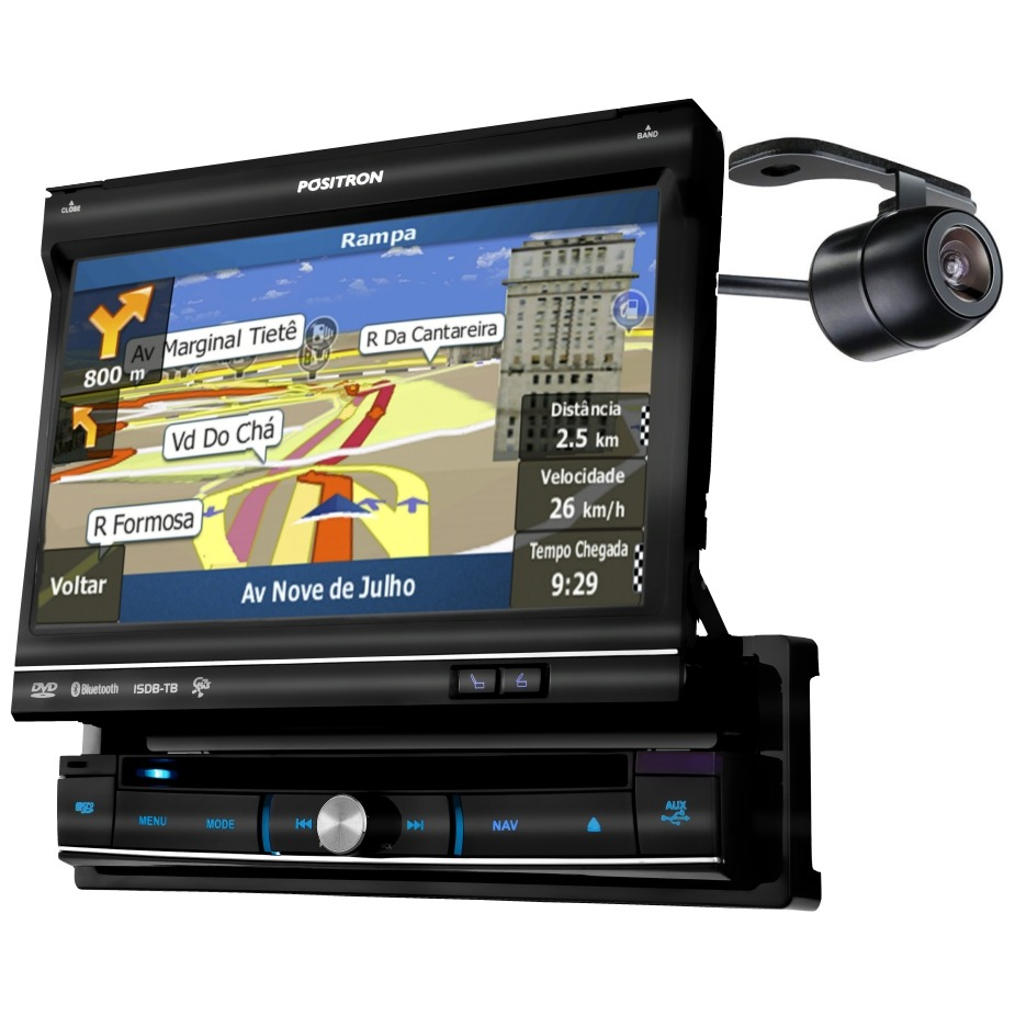 Dvd Player Autmotivo Multimidia Positron SP6900 + Camera de Ré 7 Polegadas Touch Screen GPS TV Digital USB Bluetooth