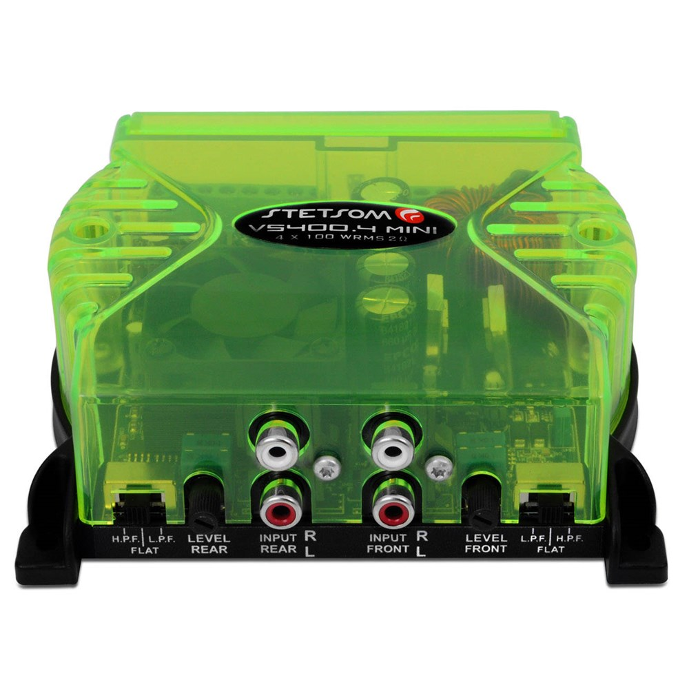Módulo Amplificador Stetsom VS400.4 Mini 400w 4 Canais 2 Ohms Verde