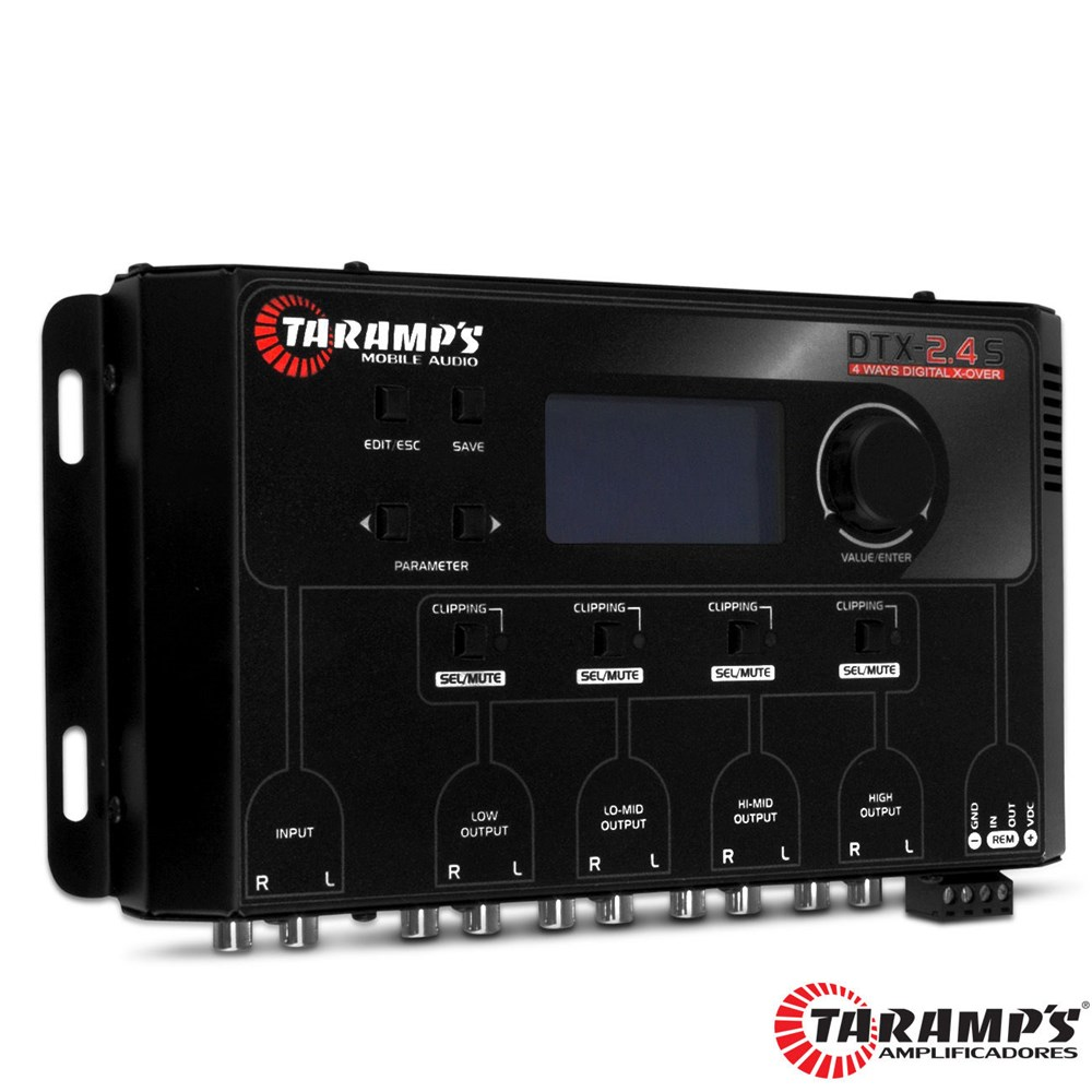 Crossover Automotivo Taramps DTX 2.4s Digital 4 Vias Tela Display Lcd
