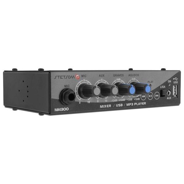 Mixer Automotivo Stetsom MA1300 Entradas USB Auxiliar e Microfone