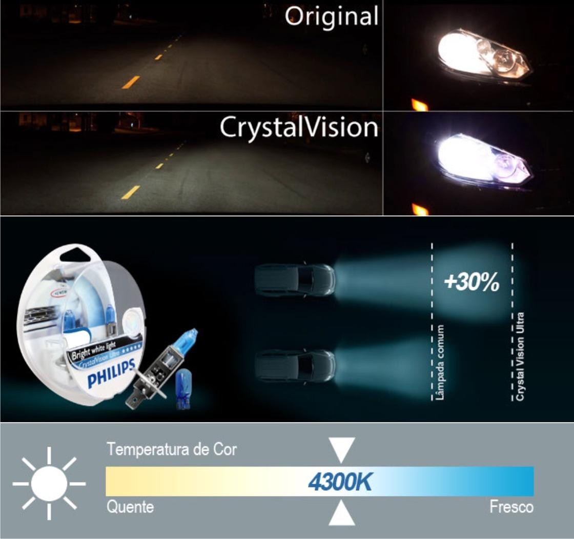 Kit Lampada Philips Crystal Vision H4 55w 12v + Par de Pingos - Efeito Xenon