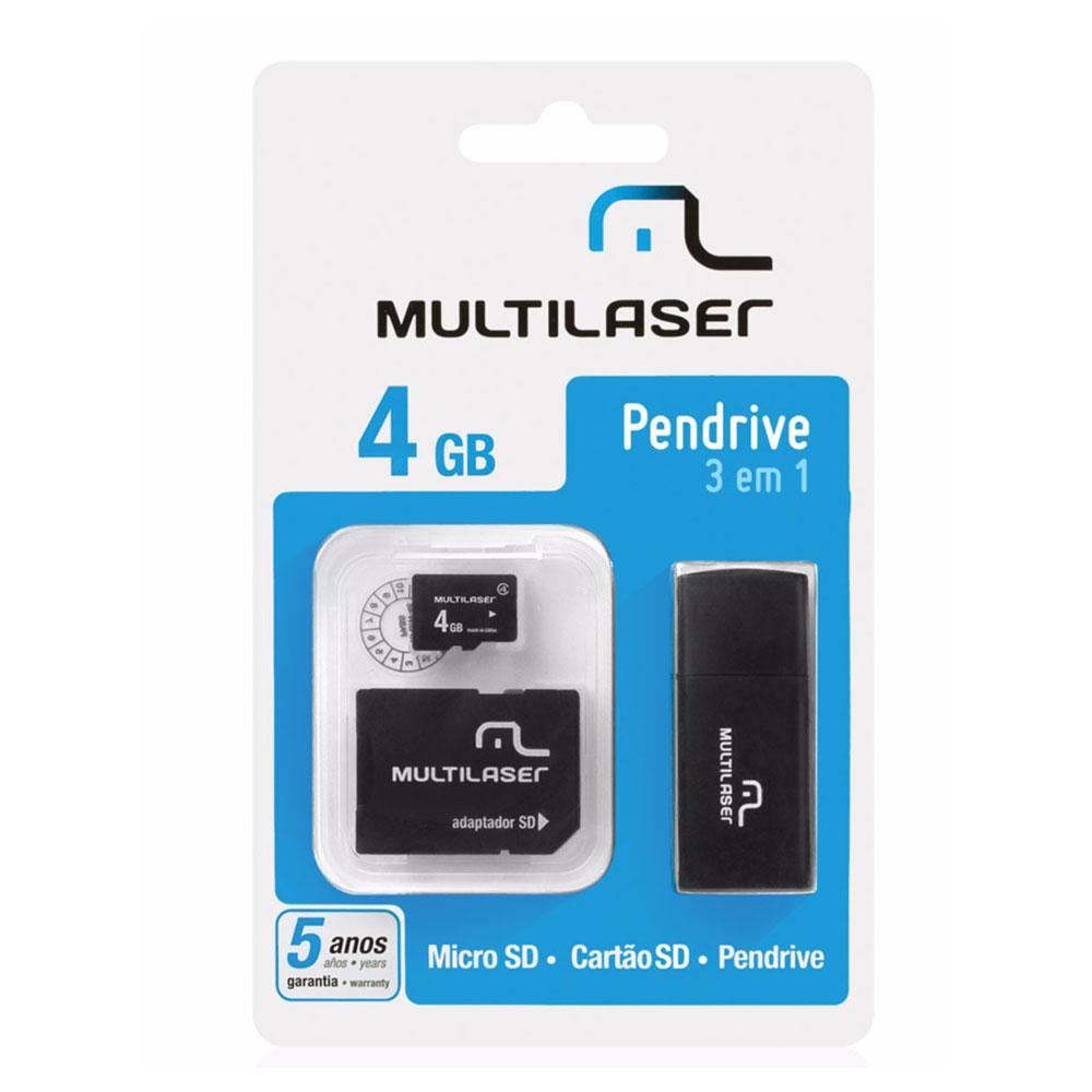 Cartao de Memoria Multilaser Microsd + SD + PEN Drive 4GB KIT 3 em 1 - MC057