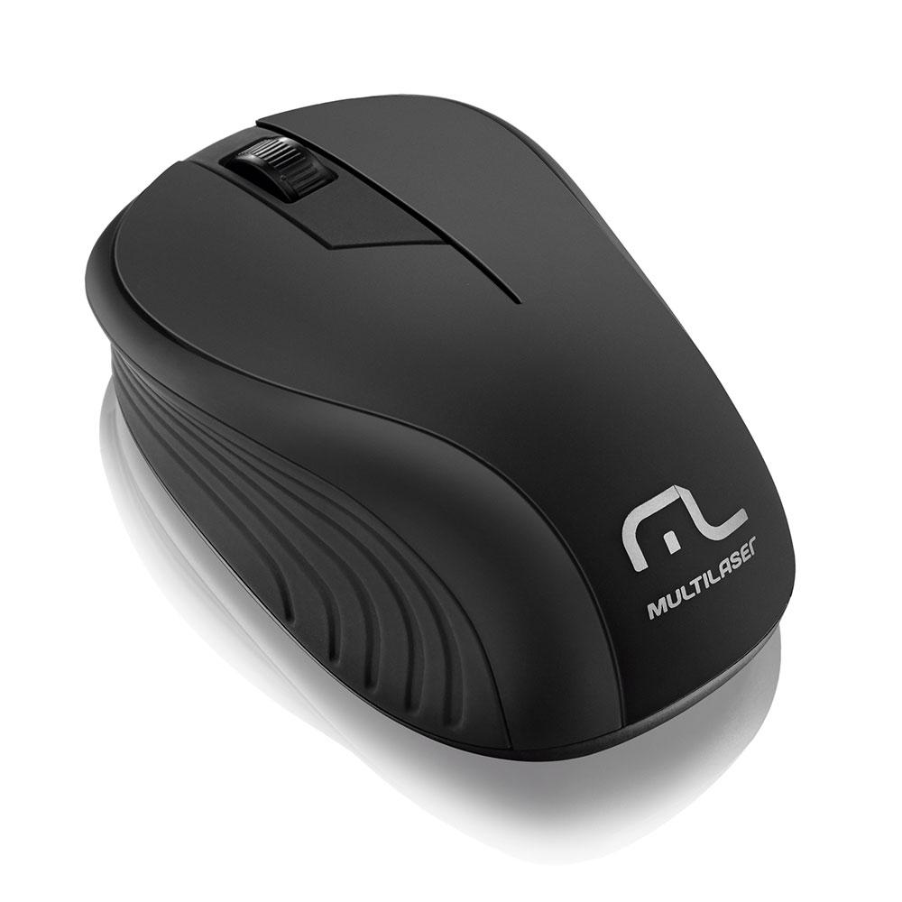 Mouse Multilaser sem Fio 2.4GHZ Preto USB - MO212