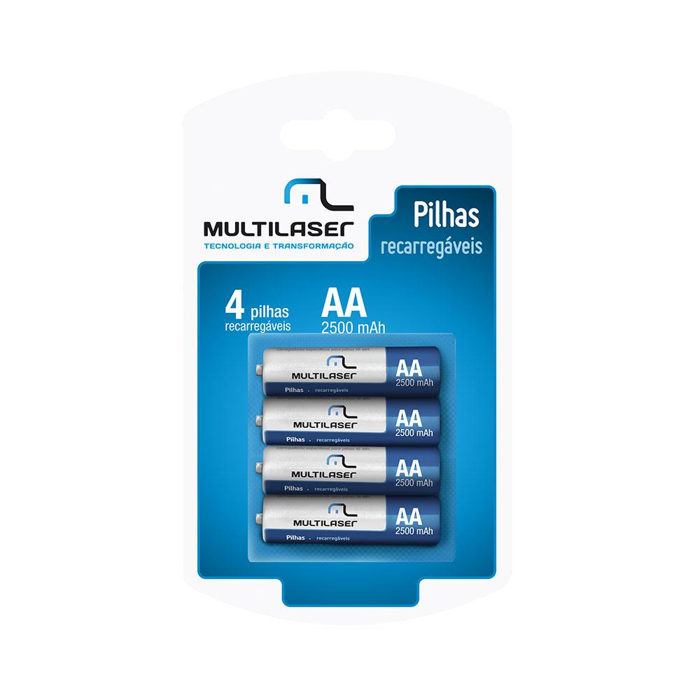 Pilhas Recarregaveis Multilaser AA (2500MAH) - 4 Unidades - CB052