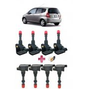 Kit Bobina de Ignição Honda Fit dianteiro + traseiro + 8 velas