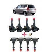 Kit Bobina de Ignição Honda Fit dianteiro + traseiro + 8 velas 2003 até 2008 1.4 8 V