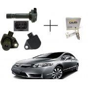 4 Bobinas de Ignição Honda New Civic, CRV 2.0 + Vela Iridium 099700101