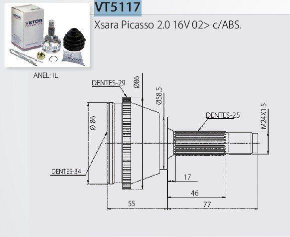 Junta Homocinética Citroen Xsara Picasso 2.0 16V 99> com ABS Manual DVG 34x25 IL