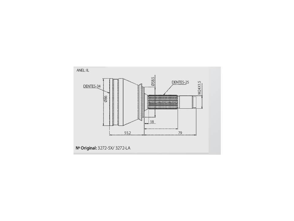 Junta Homocinética Citroen C4 2.0 08> Automático / Peugeot 207 1.6 09>17 / 307 1.6 / 2.0 16V de 04>  s/ABS 34x25 IL