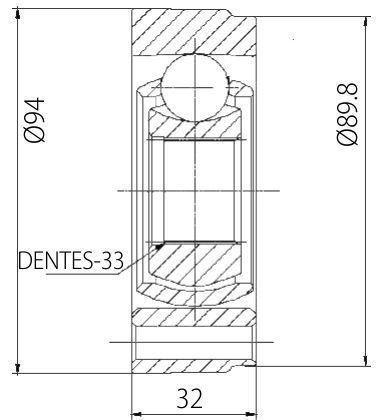 Junta Homocinética Deslizante VW Gol 1.6 1.8 2.0 94 a 06, Parati 1.8, 2.0 82 a 06, Passat 1.8 75 a 88