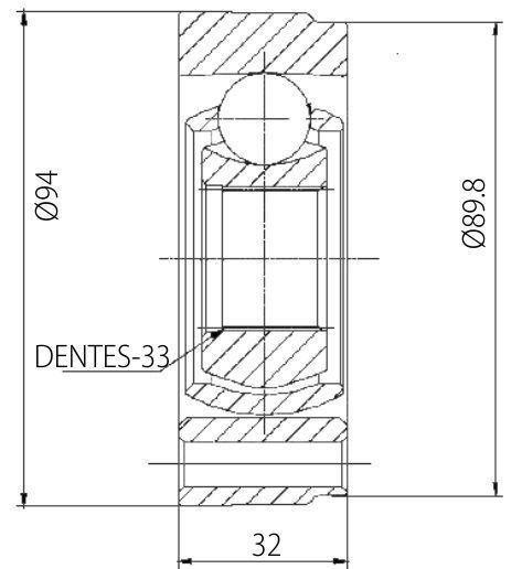 Junta Homocinética Deslizante VW Gol, Voyage, parati, Saveiro 1.6, 1.8 94