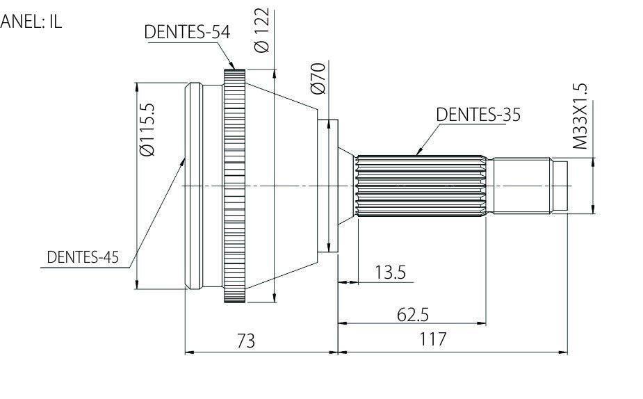 """Junta Homocinética Fiat Ducato 2.5, 2.8  TDI aro 16"""" 94 a 09 (1.4 Ton) com ABS"""