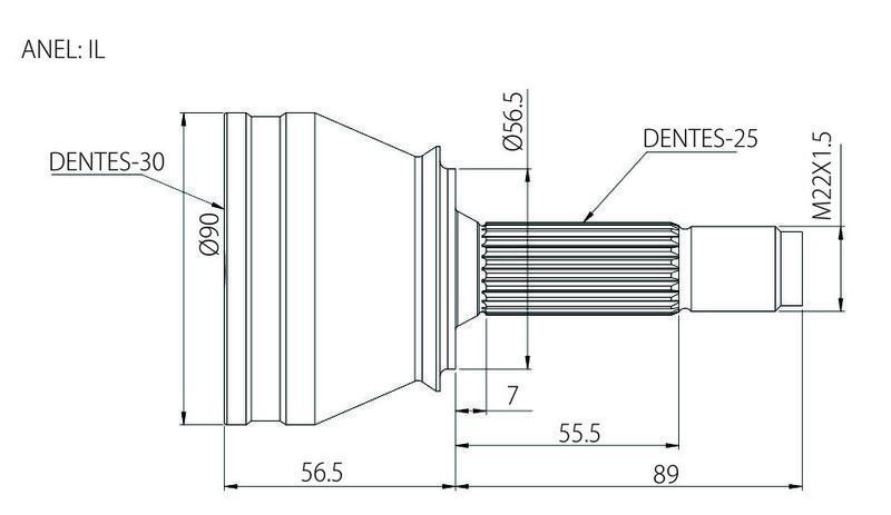 Junta Homocinética Ford Escort, Verona 1.8, 2.0 93 a 96 Vw Logus Pointer 1.8 2.0 92 a 96