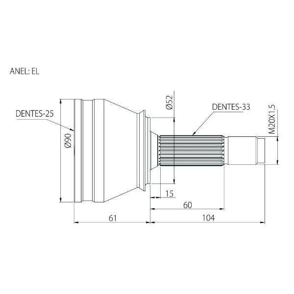 Junta Homocinética GM Vectra Manual 2.0, 2.2 97 a 06 sem ABS 25x33 EL