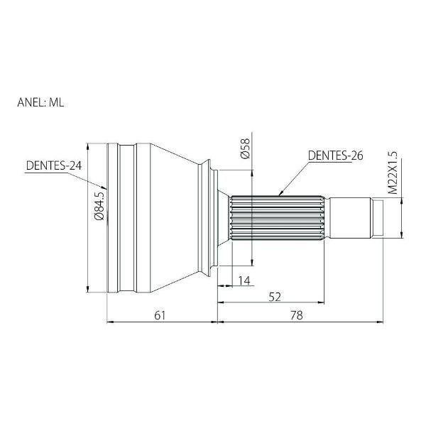 Junta Homocinética Honda Civic Manual e Automático 1.7 16v 01 a 05 Sem ABS 23x26 ML