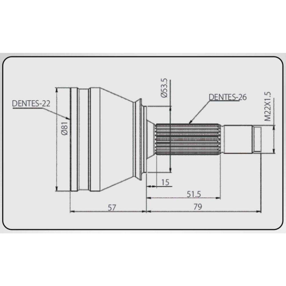 Junta Homocinética Honda Fit 1.4 03>08 Manual Fit 1.5 03>08 Manual / Automático 22x26 ML
